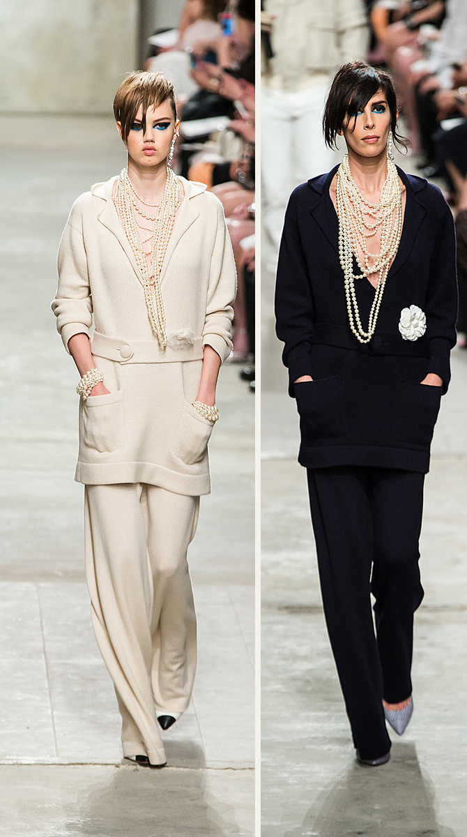 Holiday continent jumping? Gorgeous cashmere leisure looks @Chanel Cruise 2013-14. #VoguishinMotion