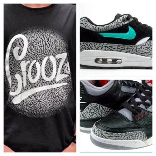 Sneakerhead, our OLIFANTE tee is perfect match for your AM 1 Atmos or AJ 3 black/cement #airmax #airjordan #jumpman #atmos #igsneakercommunity #kicks #sneakernuts #sneakerhead #elephantprint (at Crooz Cloth)