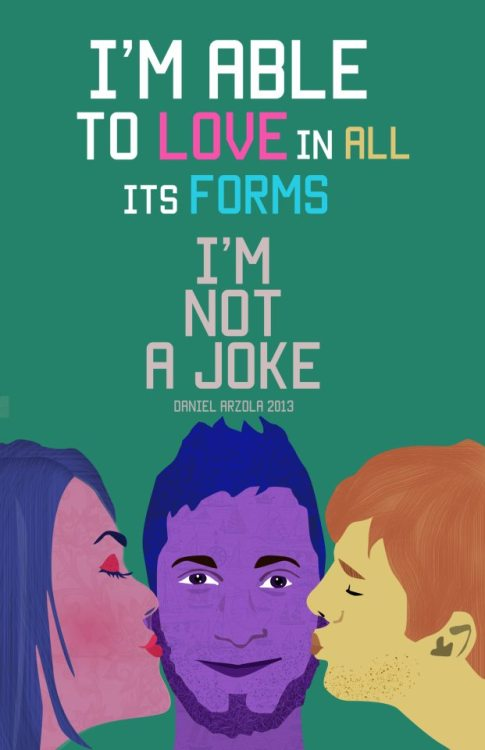 nosoytuchiste:  I'm Not a Joke is a campaign spreading awareness for the LGBTI community through art and design, created by Daniel Arzola (@Arzola_d) for the school of Visual Arts Rafael Monasterios in light of the recent violent acts against the sexually diverse community in Venezuela. It initially seeks to expand in the online community. If you'd like to share your opinion please do so via twitter using the hashtag #ImNotaJoke. Like our page on Facebook and share our designs to support our cause!