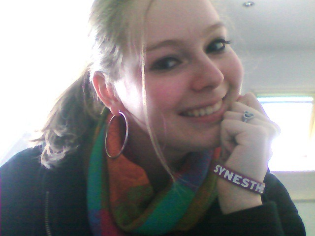 "bitemelikeavampire:  Yaaayyy ;D Got my Synesthesia bracelet today. It's so pretty!The letter said: ""Don't freeze to death"", which is probably the best advice ever as it's constantly freezing and snowing here at the moment :)Thank you so much René, you're the best <3"