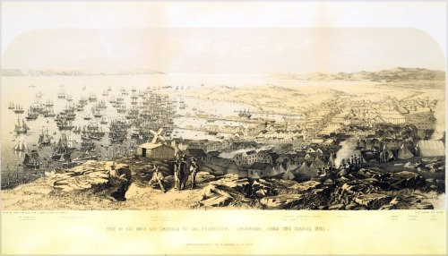 """ Town and Harbor of San Francisco — 1851 ""  ….  Three-Color Lithograph by W. Boosey"