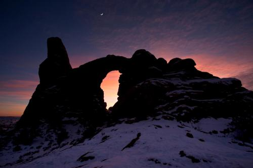 A waning sun and a waxing moon at Arches National Park. Does it get any better than this? Photo: Jacob W. Frank
