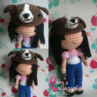 Her name is Glee, a dog lover. Made her for a friend :3 A good friend of mine will be leaving our country next week. And as a souvenir, she asked me to make her an amigurumi dog, sadly I'm not really good in making amigurumi dog. :( that's why i decided to make her an amigurumi doll wearing a dog cap/hat XD close enough haha. Hope she likes this. Named the doll after her btw :)