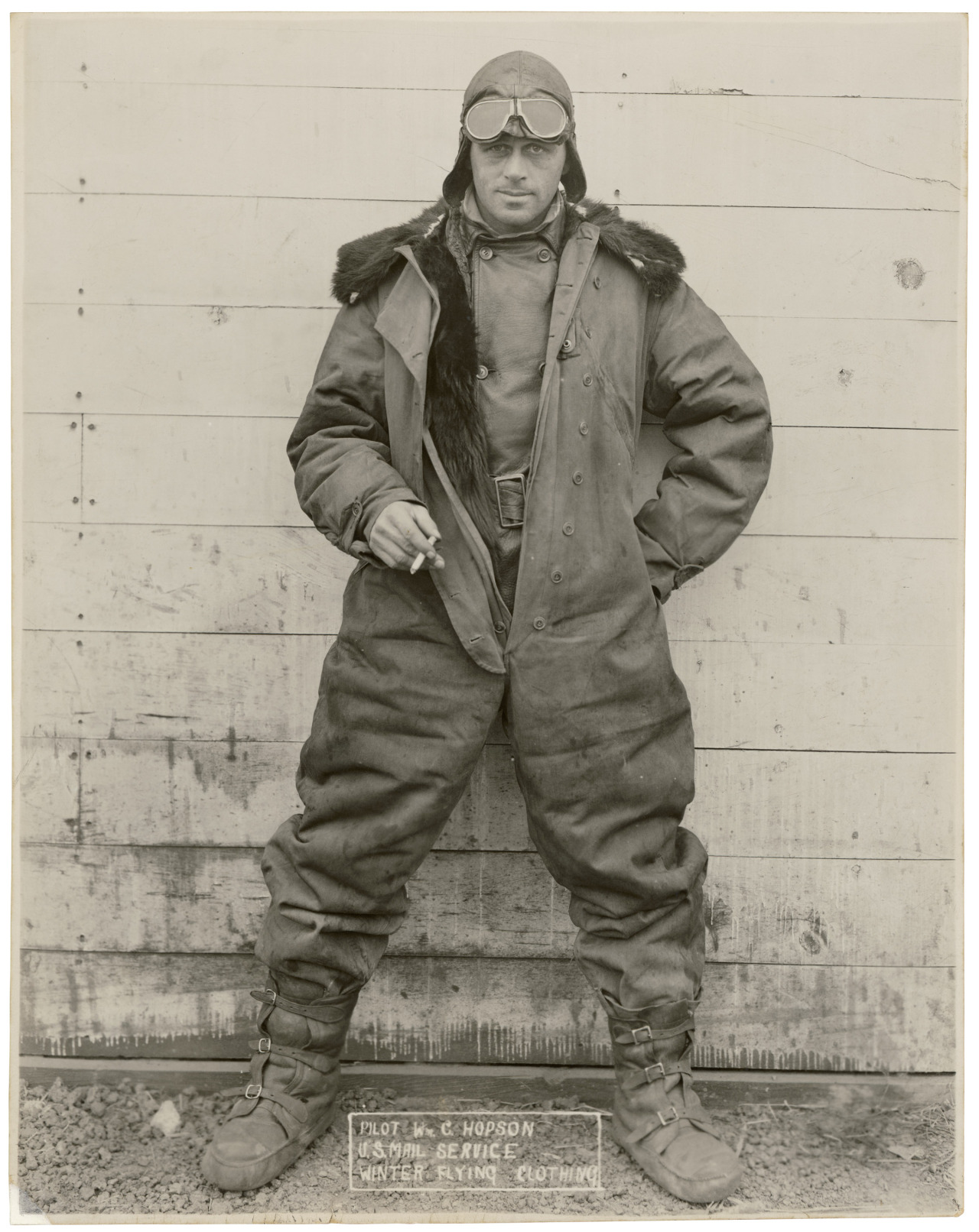 "Pilot William C. Hopson of the U.S. Mail Service in Winter Flying Clothing  Regularly scheduled airmail service first began in the United States on May 15, 1918.  ""Wild Bill"" Hopson remains one of the more colorful of the early airmail pilots.  A former cab driver who survived several close calls (once landing upside down in a cornfield), he perished when his plane crashed during a storm in 1928.  Check out his ""Pilot Story"" at the Smithsonian's National Postal Museum."