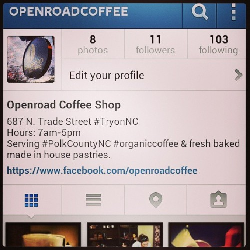 Today I started my project to help promote my local #coffeeshop @openroadcoffee! #northcarolina #tryonnc #polkcountync #wnc #coffee #organiccoffee #nc #ncfoothills  (at Openroad Coffee)