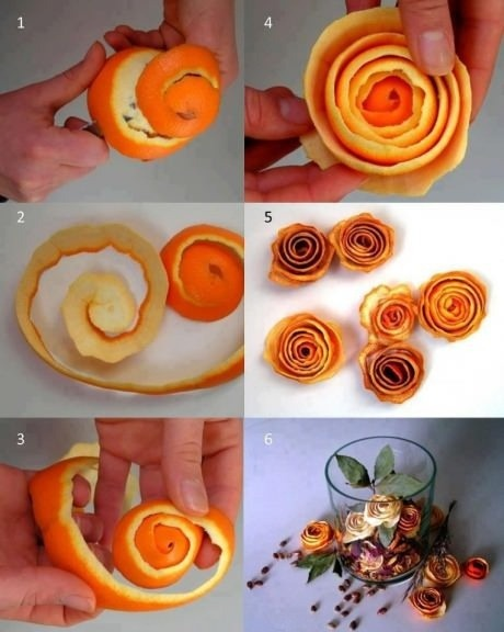 Making Roses from Orange Peels! Woow! a step by step photo tutorial!