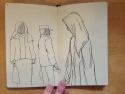 A few pages from a sketchbook showing life drawing examples with pen and pencil