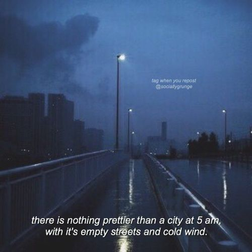 there is nothing prettier than a city at five 5 am in the morning with morning its empty streets and cold wind air cold wind grunge asthetic aesthetic unic0rrn-sluts