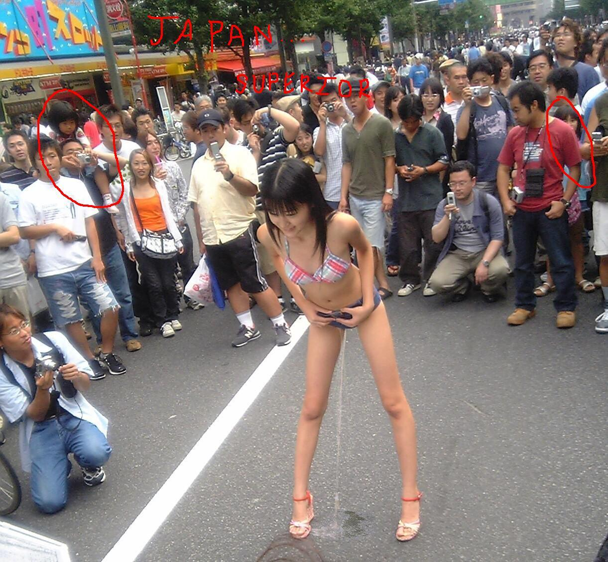 Japanese girls peeing standing up