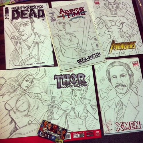Sunday's sketch #comics ready for Monday markers #walkingdead #adventuretime #anchorman #thor