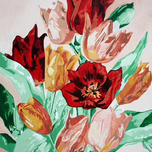 "A Tulip Collection Although different tulip colors carry distinct meanings – yellow tulips symbolizing cheerful thoughts, white conveying forgiveness and purple representing royalty – a Turkish legend may be responsible for the red tulip's symbolism. The story goes that a prince named Farhad was love struck by a maiden named Shirin. When Farhad learned that Shirin had been killed, he was so overcome with grief that he killed himself – riding his horse over the edge of a cliff. It's said that a scarlet tulip sprang up from each droplet of his blood, giving the red tulip the meaning ""perfect love.""  Click the icon to see the full gift range, novelties and collectables of ""A Tulip Collection"": at Got The Gift?Click the links to see all of my Redbubble Tulip Paintings, Tulip Photography, Tulip Greeting Cards, Tulip Stickers, Tulip Tees.Custom order on via EtsyMy artwork, photography and design can be found in my Zazzle Galleries. Check out customizable gifts and collectables at Female Contemporary Art, Arttowear and Rottweiler Gifts Follow links to 3DRose for customizable Photography and Acrylic Art-——————————————————————————————————————————————————      *My Images Do Not Belong To The Public Domain. All images are copyright © taiche. All Rights Reserved. Copying, altering, displaying or redistribution of any of these images without written permission from the artist is strictly prohibited"