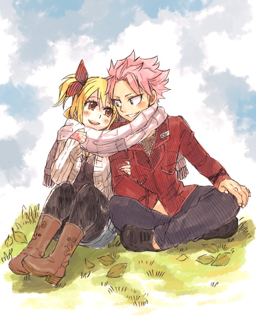 rboz:  Natsu and Lucy enjoying an autumn afternoon together. A date, perhaps?This is for my friend melllllly ^0^/ Happy belated Birthday, lady!