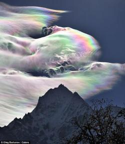 Iridescent clouds over the Himalayas