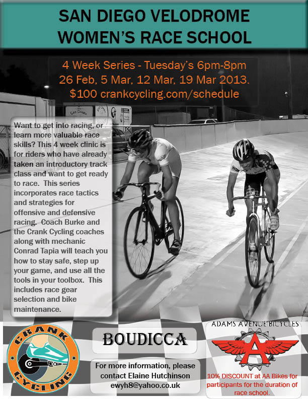 TONIGHT AT SAN DIEGO VELODROME   Women's Race School is a four-week clinic exclusively for female riders who are looking to prep their racing skills and tactics.  The series begins this evening at San Diego Velodrome so don't miss out.  Registration can be found HERE.