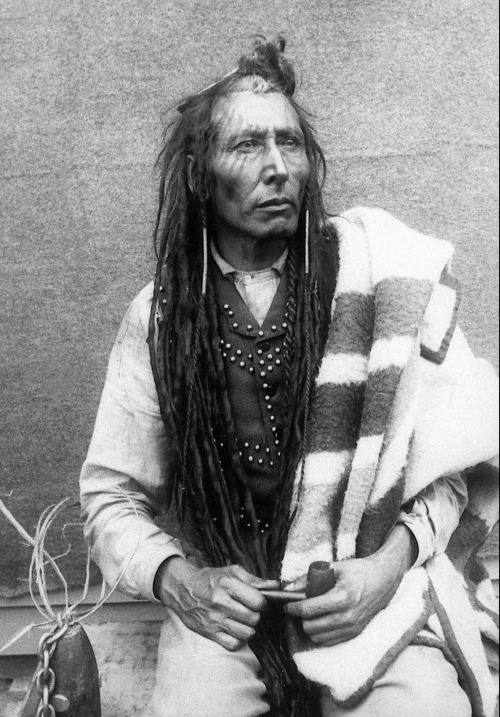deathconstantbeyondlove:  Pitikwahanapiwiyin, commonly known as Poundmaker, and adopted son of Crowfoot. He was a Plains Cree chief and peacekeeper who attempted to prevent escalation of violence between his people and white Canadian troops. Spent seven months in prison following a conviction of treason based upon a letter written by Louis Riel. Died at the age of 44 from a lung hemorrhage, and now buried at the Poundmaker Reservation in Saskatchewan.
