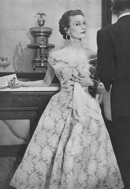 theniftyfifties:  Model wearing an evening gown by Jacques Fath, 1953.