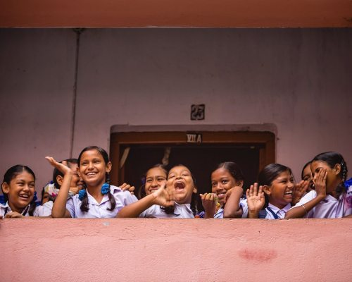 Schoolgirls at Kolkata High Schools, in and out of the...