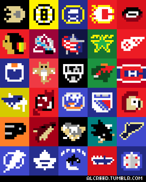 One more piece on 8-Bit NHL, I swear!  The 8-Bit Logos of the NHL!