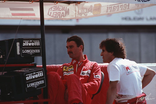 These two men were two of top four or five best drivers in the world at the time. But, god damn it, they had no style. Il leone and le professeur to some, but the moustache and the nose to others.