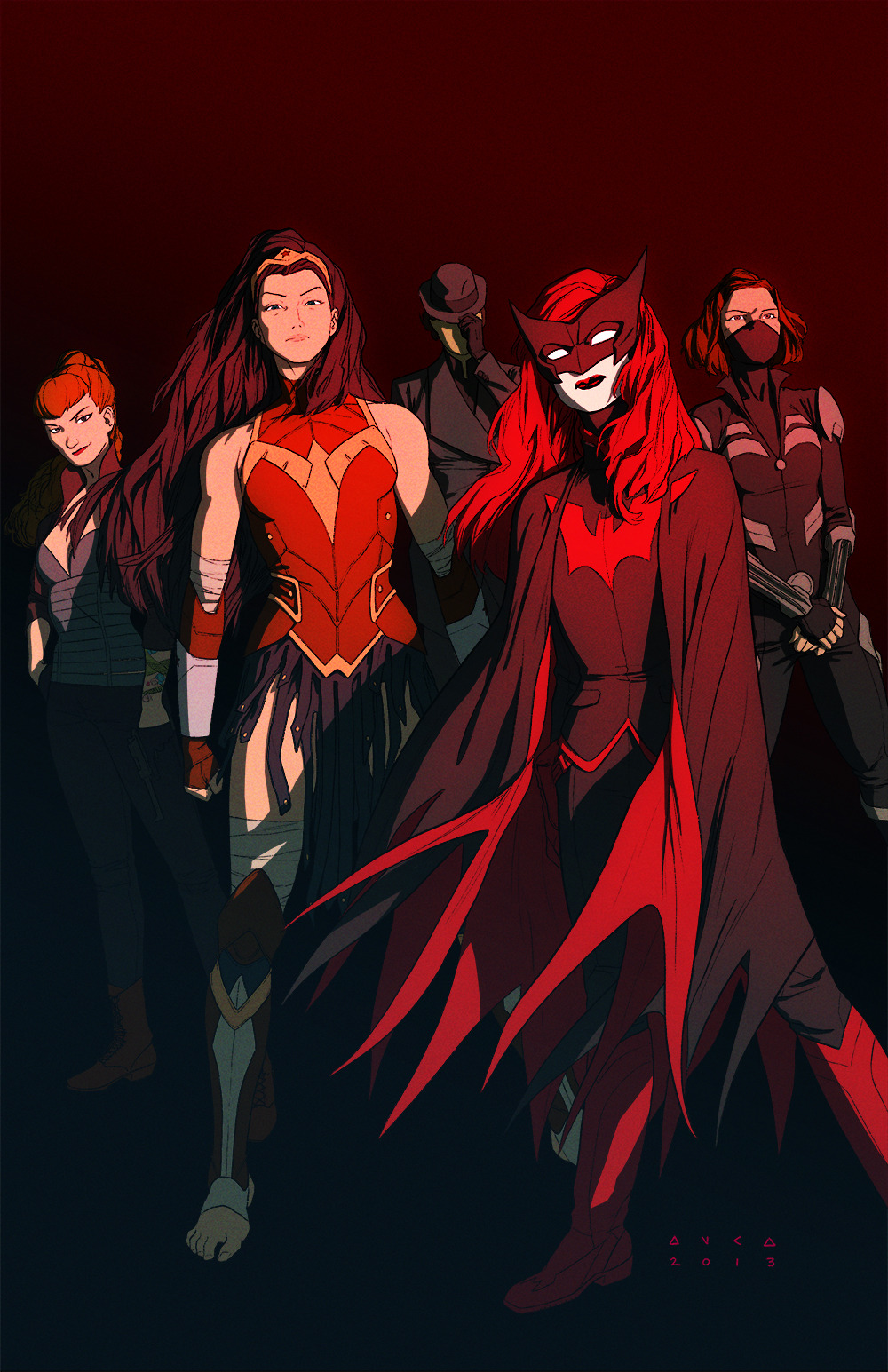 kristaferanka:  The greatest Team in the world. Kate. Diana. Eve. Scandal. and Renee. This started a few weeks ago from an idea I had when talking to a co-worker of mine at Nickelodeon. She and I were remarking how big fans we were of Kate and Diana and that lead to my realization that I would love to do a book with them, plus Eve. From there I added Starling, because I remembered how much I loved her and the Secret Six.  and Renee, cause when Greg Rucka says a team needs Renee, you better add Renee. Each costume was redesigned a bit too. I made Kate a bit more formal. Heavily influenced by Yasmin Liang's design. Diana is more or less just a tweak of my older design. I definitely wanted  to keep the Greco Roman Grappler aspect of her. More Wrestler than like a knight. I also wanted to give her a short hair cut, but she ended up  looking better with an epic mane of hair. Eve more or less is the same. I gave her a cage corset, just cause i like cage dresses. Made her slightly more fashionable. Scandal I just wanted her too look more Ninja. nothing too large of a change. just some taste stuff. and Renee, also didn't have  too much of a change, just gave her a bit more of a designed coat, rather than just a regular suit.