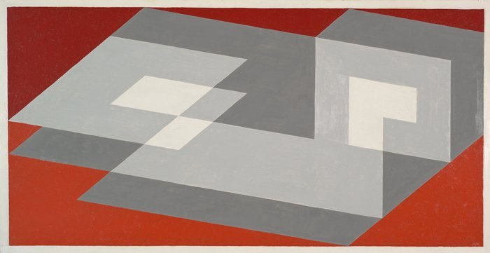 art-history:  Josef Albers Tenayuca  1943 Oil on Masonite  22.5 x 43.5 in San Francisco Museum of Modern Art