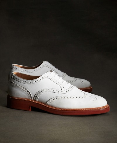 wantering:  Brooks Brothers The Great Gatsby Collection White Buck Wingtip Shoe