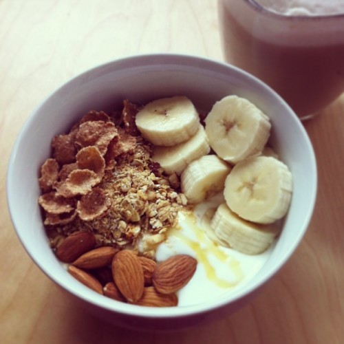Good morning! #yogurt #granola #banana & #chailatte! ✨💛 #breakfast #food #foodporn #foodstagram #morning