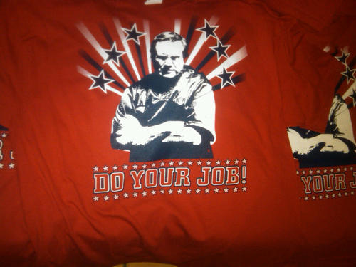 Have you picked up one of our exclusive Do Your Job tees yet? The red ones are almost gone, so this could be your last chance. What better way to pass the off-season void!? Just go to PatsPropaganda.com and use the paypal pulldown in the right hand column! $17 + $3 shipping = $20 for an awesome one-of-a-kind Pats/Belichick superfan shirt. We even have ladies style too.