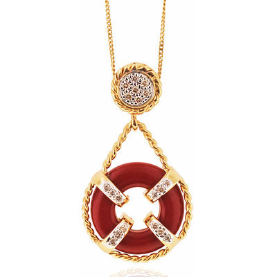 Michael Valitutti 14k Gold Red Coral and Diamond Necklace