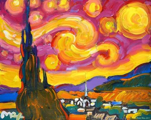 "paulagold:  Peter Max interprets Van Gogh's ""Starry Night"" as only he can…"