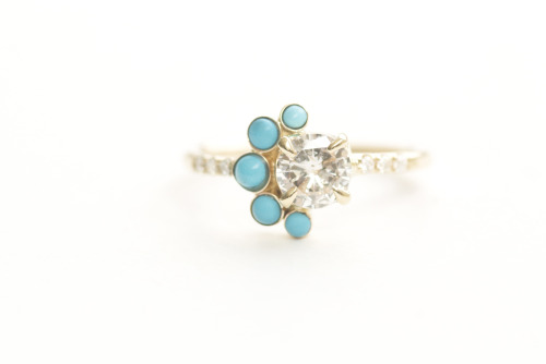 MOCIUN custom Turquoise Crescent Ring with turquoise, an old miner white diamond, and white diamonds set in 14K yellow gold.