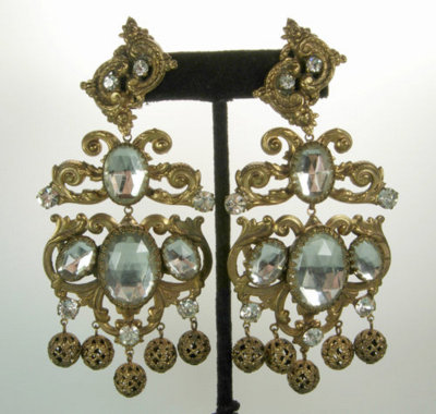 Crazy baroque earrings by Kenneth Jay Lane.