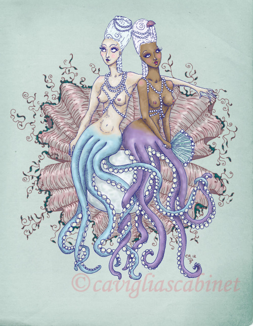 I'm thrilled to announce that my previously sold out print, Sixteen Tentacles — Va Va VOOM!, is once again available for sale. This time on my Society6 store - my lovely octomaids grace pillows, cards, and iphone/ipad cases.