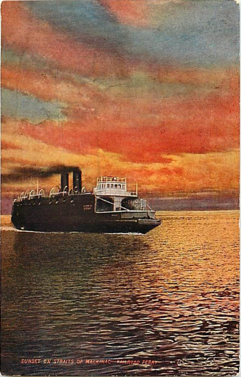 """Sunset on the Straits of Mackinac—Railroad Ferry"""