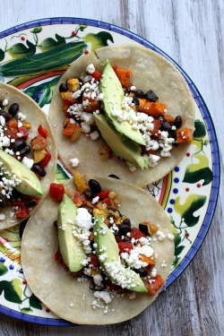 foodopia:  roasted vegetable and black bean tacos: recipe here