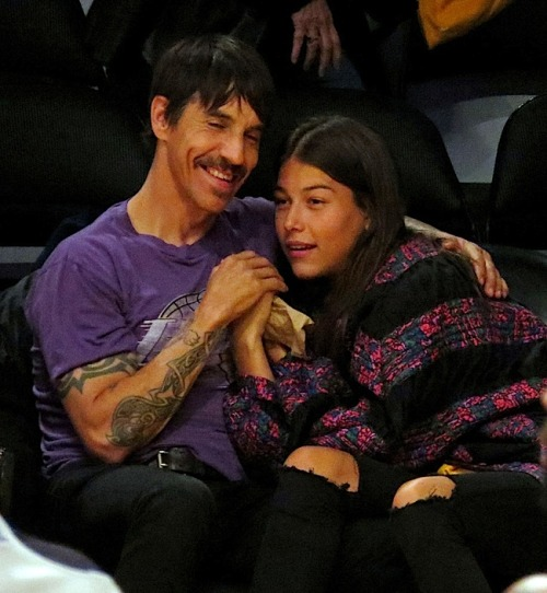 Anthony Kiedis at the Lakers vs Clippers Game at the Staples Center in Los Angeles on February 14th, 2013. (Photo 2 of 2)