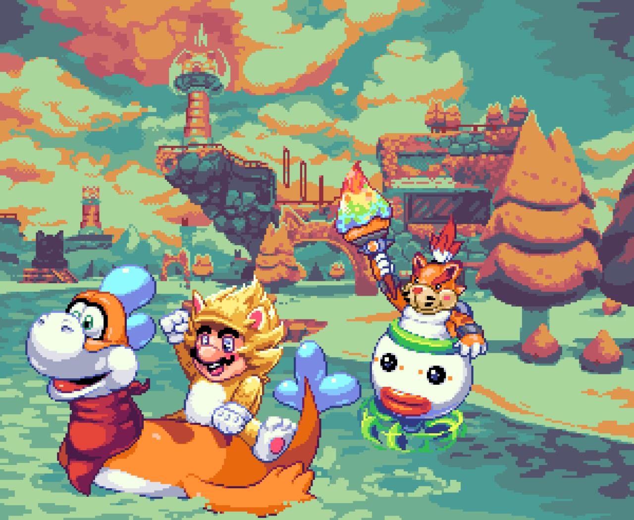 Mario Bowsers Fury in Pixel Art #pixelart#gaming#gamer