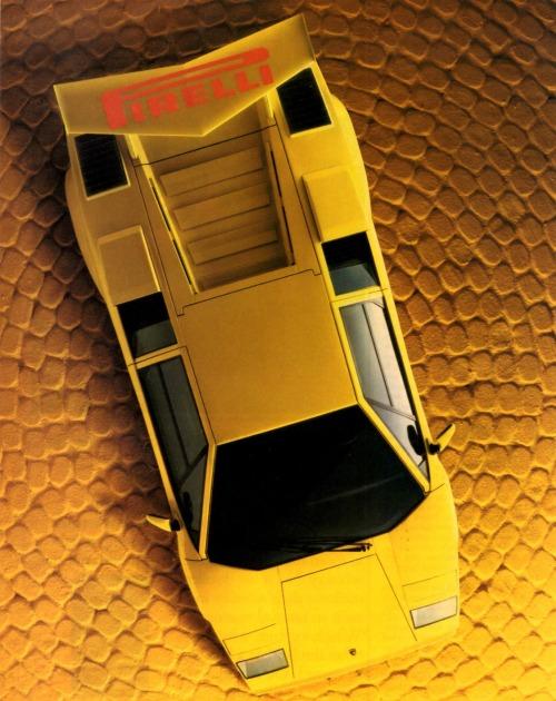 1986 Lamborghini Countach in Pirelli ad