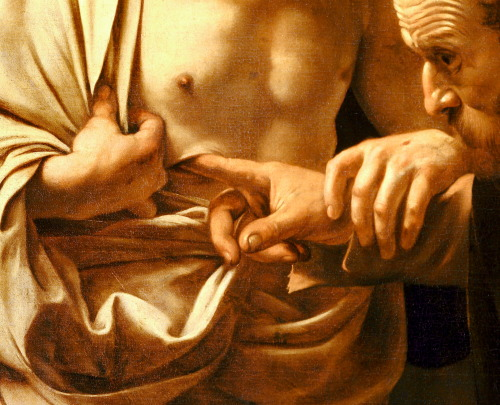 drawpaintprint:   Caravaggio: The Incredulity of Saint Thomas (1601-1602)