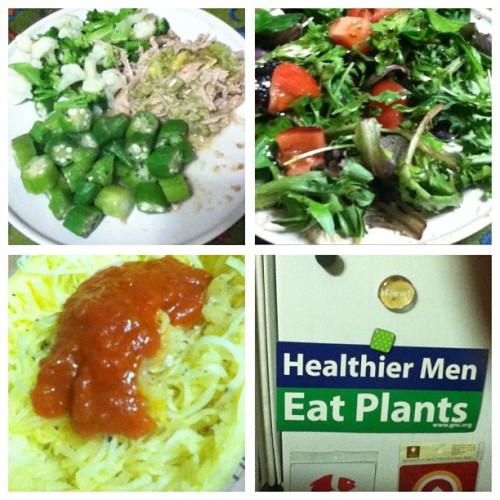 Some of today's  #paleo eats. #pork, #herb salad and spaghetti squash. Oh and the sticker that reminds me to get my 3 cups of #greens.