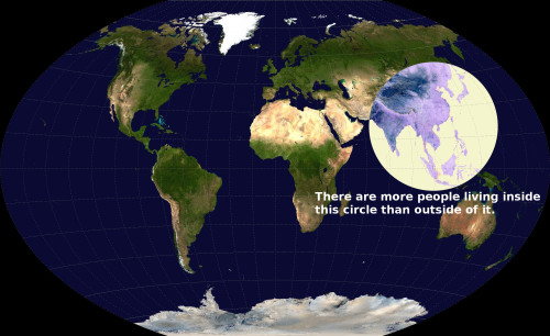 More than half of humanity lives within this circle http://www.washingtonpost.com/blogs/worldviews/wp/2013/05/07/map-more-than-half-of-humanity-lives-within-this-circle/