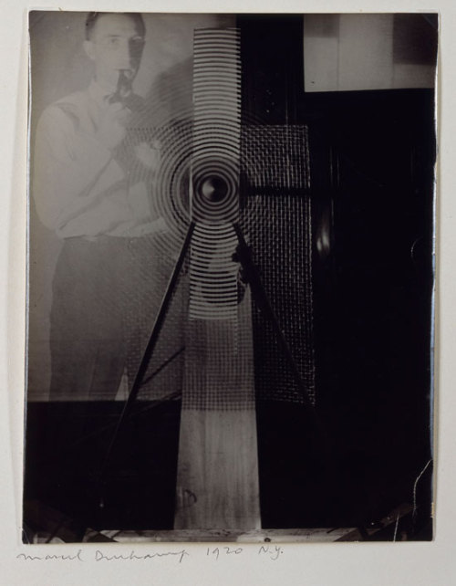 Marcel Duchamp with Rotary Glass Plates Machine (in motion), 1920, Man Ray Umbigo Magazine