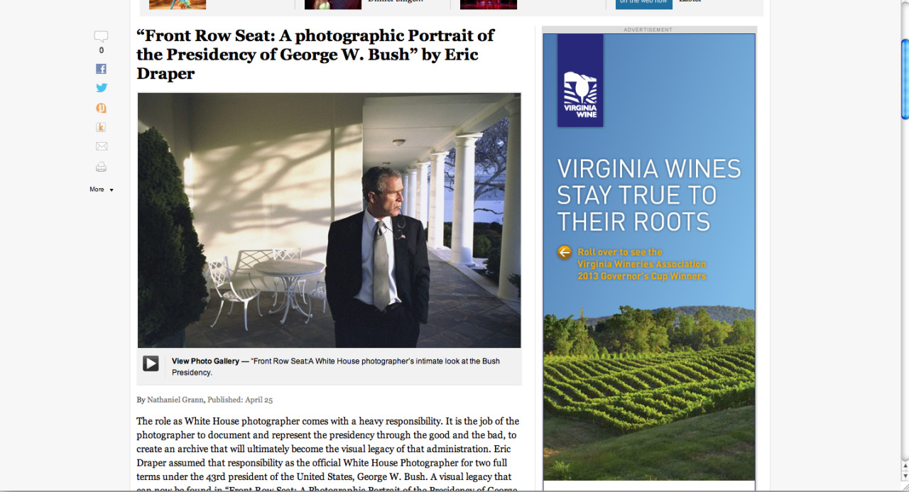 "Had my first photobook review published by The Washington Post a few days ago on Eric Draper's ""Front Row Seat: A photographic portrait of the Presidency of George W. Bush"" ReviewGallery"