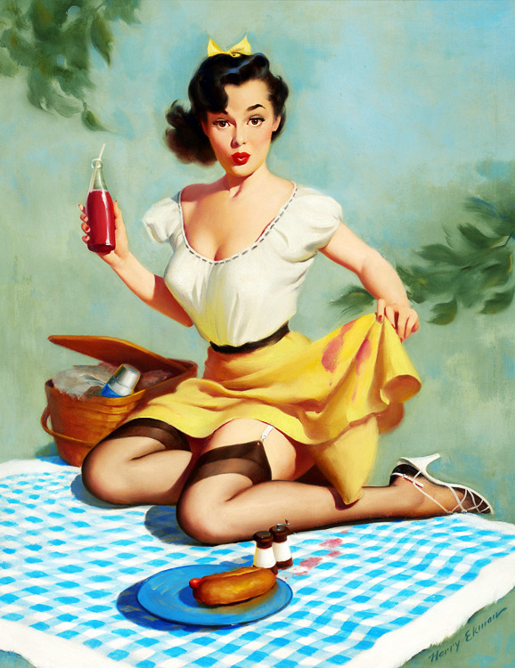 "vintagegal:  simonenguyen:  vintagegal:  ""Mishap at the Picnic"" by Harry Ekman c. 1950s  Yeah, like why does she have a straw in her ketchup?  Because it's juice."