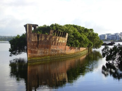 awakyn:  The SS Ayrfield is one of many decommissioned ships in the Homebush Bay, just west of Sydney, but what separates it from the other stranded vessels is the incredible foliage that adorns the rusted hull. The beautiful spectacle, also referred to as The Floating Forest, adds a bit of life to the area, which happens to be a sort of ship graveyard. Originally launched as the SS Corrimal, the massive 1,140-tonne steel beast was built in 1911 in the UK and registered in Sydney in 1912 as a steam collier which was later used to transport supplies to American troops stationed in the Pacific region during World War II. The ship went on to serve as a collier between Newcastle and Miller's terminal in Blackwattle Bay. Eventually, in 1972, the SS Ayrfield was retired and sent to Homebush Bay which served as a ship-breaking yard. While many ships were taken apart, about four metallic bodies of vessels that are over 75 years old currently float in the bay, though none are enveloped by nature quite like the Ayrfield. The ship continues to attract visitors to its majestic presence, rich with mangrove trees. Top image by Andy Brill