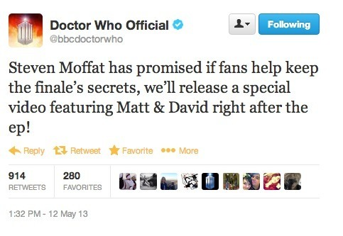 madhatton:  FOLLOWERS! REBLOG EVEN IF YOU AREN'T A WHOVIAN BECAUSE IT WILL PASS TO OTHERS! WE NEED THIS TO HAPPEN AND IF WE CAN PREVENT SPOILERS (hehe) THEN WE DON'T GET DAVID SO PASS IT ON!!!!!! THANKS