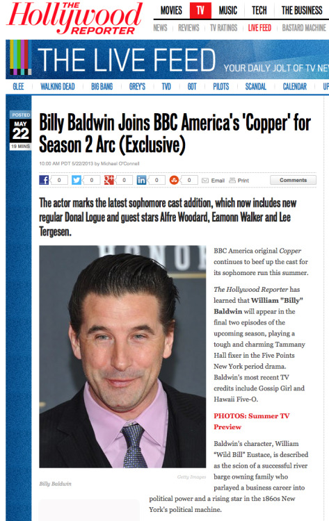 coppertv:  Give a Five Points welcome to Copper newcomer, Billy Baldwin! Click here for the full casting announcement, exclusively at The Hollywood Reporter.