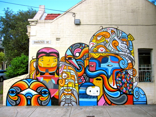 New wall by Beastman, Phibs & Creepy in Sydney, Australia. 2013 photo by baddogwhiskas: http://www.flickr.com/photos/22179952@N00/