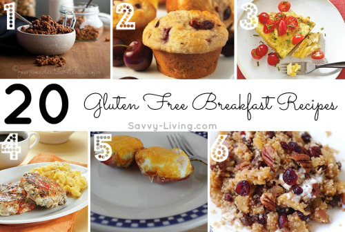 savvyliving:  Here is 20 gluten free breakfast recipes! :) 1. Gluten Free and Grain Free Chocolate Granola 2. Fresh Cherry and Almond Muffins 3. Breakfast Tortilla 4.  Cilantro-Pear Turkey Breakfast Sausage 5.  Baked Eggs Cups 6. Apple Cinnamon Quinoa Breakfast 7. Yummy Oatmeal Muffins 8. Lemon Poppy Seed Pancakes 8. Cinnamon Toast Waffles  10. Cinnamon Raisin Muffins 11. Gluten- and Dairy-Free Breakfast Bars with Apricots, Prunes and Almonds 12. Banana Breakfast Smoothie 13. Sweet Almond Cream of Buckwheat with Skillet Pears 14. Hot Quinoa Cereal with Maple Syrup Apples 15. Egg Crepes with Sausage 16. Peanut Butter and Banana Pancakes 17. Ham and Cheese Strata 18. Gluten Free Waffles 19. Gluten Free Breakfast Popovers 20. Cranberry Baked Oatmeal If you have a favorite gluten free recipe, leave a comment (or a link to the recipe) below! :)