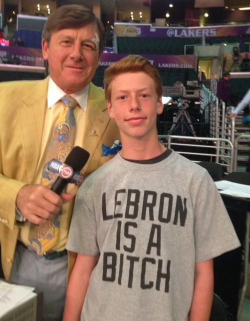 Craig Sager and a kid that isn't a LeBron fan.